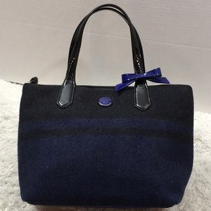 Coach blk/blue wool satchel tote bag